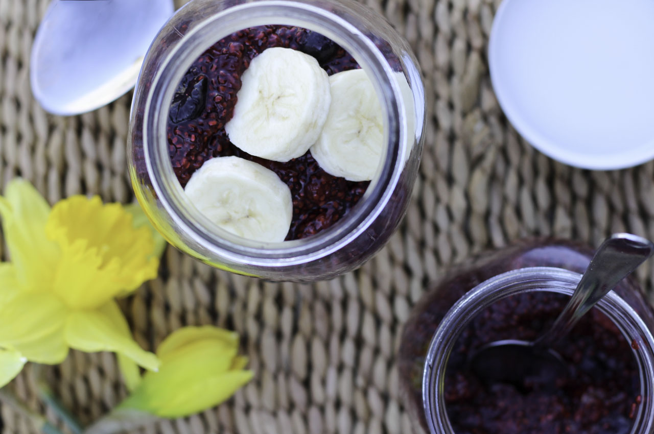 Chocolate overnight oats with berry chia jam.